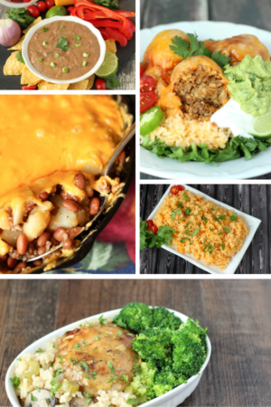 This image is pictures of five different rice and bean recipes. There is a bowl of black bean dip with green onions and chips. There is a plate of taco balls with cheese and guacamole. There is a platter of Mexican rice. And there is a bowl of Chicken and Rice casserole.
