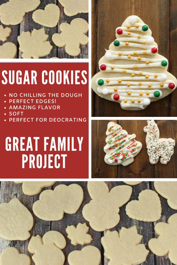 A collage image with decorated cut out sugar cookies, freshly baked sugar cookies, and some promotional writing.