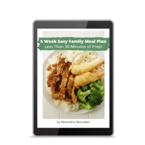 Cover of the 5 Week Family Meal Plan showing a Huli Huli chicken dinner with Mac salad and broccoli.
