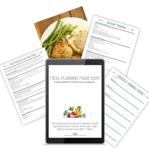 A collection of images showing what is in the digital course Meal Planning Made Easy. You can see worksheets and the course cover on a tablet and some beautiful cooked chicken.